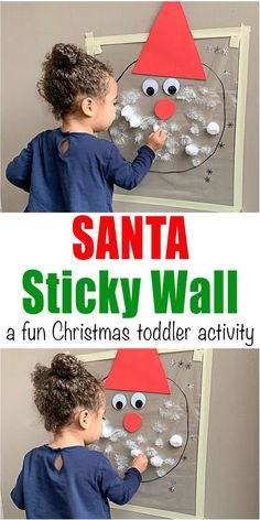 Santa Sticky Wall Toddler Activity - HAPPY TODDLER PLAYTIME Create an adorable Santa Claus sticky wall using contact paper and cotton balls! It is a fabulous idea for a fun toddler or preschooler play date activity during the holidays! #christmascrafts #christmascraftsforkids #kidscrafts