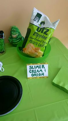 """Ghostbusters party """"Slimer cream & onion"""" chips"""
