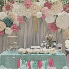 #fancy1stbirthday #tiffanyblue #paperflowers #paperflowerbackdrop #garden #gardenparty #desserttable #madewithlove #florals #greenery #kidsparty #kidspartyideas #backdrop How To Make Paper Flowers, Large Paper Flowers, Tissue Paper Flowers, Giant Paper Flowers, Big Flowers, Cake Table Decorations, Ramadan Decorations, Wedding Wall, Wedding Paper
