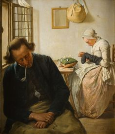 Interior with sleeping man and woman darning socks by Wybrand Hendriks(1744-1831) after 1800