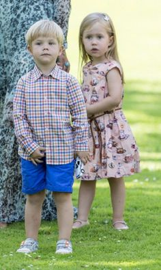 Prince Vincent and his twin sister Princess Josephine of Denmark during the annual Summer photo call 2014 for the Royal Danish family at Grasten Castle in Denmark