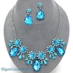 Malibu Blue Crystal Prom Statement Necklace Set Elegant Jewelry Bridal Bridesmaid Formal $28.99