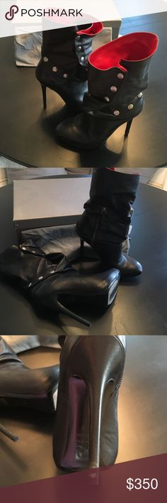 Alexander McQueen leather boots Alexander McQueen leather boots. Six snap detail, red inside, front platform, side zip. Original box and dust bag Alexander McQueen Shoes Ankle Boots & Booties