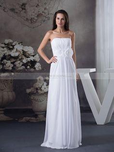 Floral Waist Featured Strapless Chiffon Bridal Dress