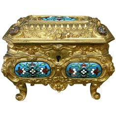 Early 20th Century Rococo Inspired Gilt Bronze and Enamel Jewelry Casket