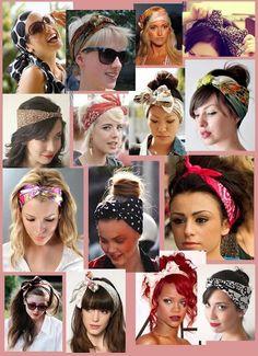 One scarf, several ties! Scarf Hairstyles Short, Retro Hairstyles, Headband Hairstyles, Hair Scarf Styles, Headband Styles, Curly Hair Styles, Pin Up Hair, Turbans, Pastel Hair