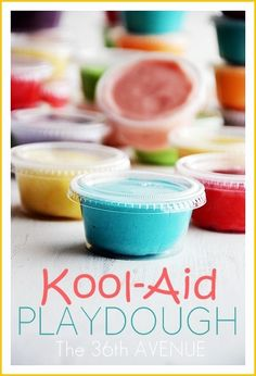 Homemade Kool-Aid Playdough Recipe. Kids love this stuff! #kids the36thavenue.com Kool Aid Play Dough Recipe, Campbells Recipes, Mermaid Birthday, Sensory Play, Kids Crafts, Fun Things, Art For Kids, Activities For Kids, Preschool