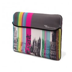 Jalebi Heritage Laptop Sleeve : This Jalebi Computer Laptop Sleeve has classic heritage buildings, which are spruced up with pop-coloured stripes.