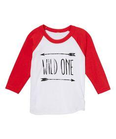 Love this Red & White 'Wild One' Raglan Tee - Infant, Toddler and Girls on #zulily! #zulilyfinds