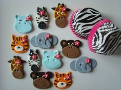 Fondant Cupcake Toppers and Zebra Liners Package Girl Safari Animals