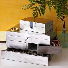 Lacquer Jewelry Box, Large, Silver