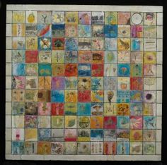 Andrea Bird   creating a grid in encaustics.