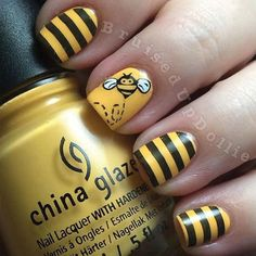 We're totally buzzing about these nails–with this nail art, you're sure to be the queen bee.