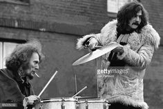 Photo of Ginger BAKER and Eric CLAPTON and CREAM; Ginger Baker & Eric Clapton shooting the film 'It was a Saturday Night'