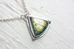 Green Labradorite Pendant Sterling Silver Necklace Handcrafted Silversmith Metalsmithed Gemstone on Etsy, $118.00