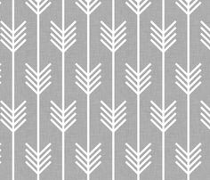 Maybe an accent wall of wallpaper? Bathroom maybe?  arrows_light_grey fabric by holli_zollinger on Spoonflower - custom fabric