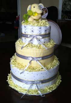Gender Neutral 3 Tier Diaper Cake by BebitoBoutique on Etsy, $70.00