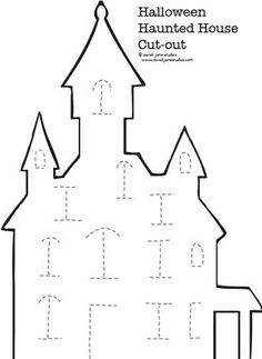 Haunted House Halloween Cut-out — Sarah Jane Studios halloween craft templates Halloween Cut Outs, Theme Halloween, Halloween Crafts For Kids, Halloween Activities, Halloween Projects, Holidays Halloween, Holiday Crafts, Moldes Halloween, Halloween Templates