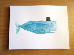 Gentleman Whale Watercolor Painting by EmilyConanDoyle on Etsy, $22.00