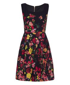 Black Floral Fit & Flare Dress #zulily *pretty