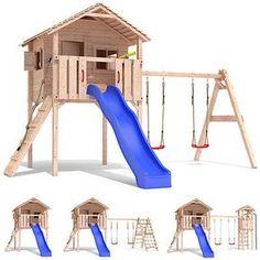 FRIDOLINO Spielturm Baumhaus Stelzenhaus Schaukel Kletterturm Rutsche Holz
