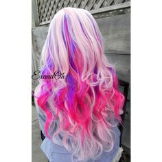 Purple and Pink Wig Cotton Candy Wig, Pastel Hair, Cosplay Wig, Dress... ($130) ❤ liked on Polyvore featuring beauty products, haircare, hair styling tools, hair, cotton candy and curly hair care