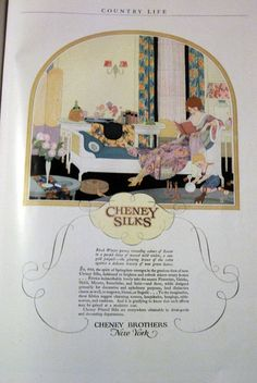 I was born in the wrong decade!  I would love a house like this...it looks so peaceful!  1922 Cheney Silks Ad Mother Lounging While by 61VintageStreet, $9.00