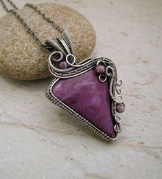 Wire Wrapped Pendant Necklace / Purple Sterling Silver Pendant