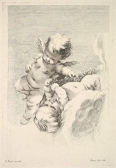 Two Cupids, One Holding a Wreath Jacques Gabriel Huquier (French, Paris 1730–1805 Shrewsbury)