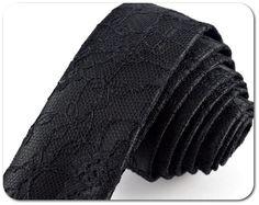 Black Lace Skinny Tie   Black Tie   Lace Tie  by SantasticDesigns, £24.00