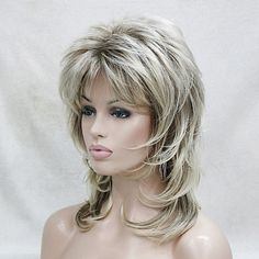 Synthetic Wig Wavy Layered Haircut With Bangs Blonde Women's Capless Natural Wig. - Synthetic Wig Wavy Layered Haircut With Bangs Blonde Women's Capless Natural Wigs Medium Syntheti - Wavy Layered Haircuts, Medium Shag Haircuts, Haircuts With Bangs, Long Layered Hair, Medium Hair Cuts, Short Hair Cuts, Medium Hair Styles, Curly Hair Styles, Medium Length Blonde