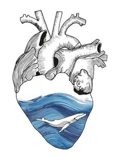 Black and white shaded heart with watercolor ocean inside