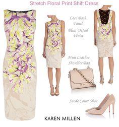 Karen Millen Floral Shift Dress with Lace Back