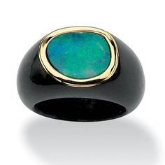 Bezel-Set Blue Opal Cabochon and Black Jade Ring in 10k Yellow Gold Naturalist.