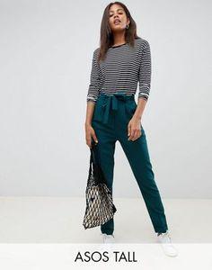 Pantalones tejidos de pinzas con lazada obi de ASOS DESIGN Tall