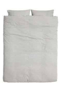H&M Gestreepte dekbedset - Wit/antracietgrijs - HOME   H&M BE 1