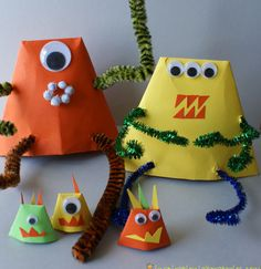 Monster craft: fold origami hats and turn upside down, attach pipe cleaners for arms and legs, add googly eyes and paper for the mouths