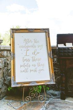 petal toss wedding sign