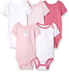 Lamaze Baby Organic Essentials 5 Pack Shortsleeve Bodysuits, Pink, 24M