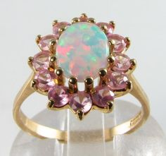 ENGLISH 9CT GOLD AAA AUS OPAL & PINK TOPAZ CLUSTER RING in Jewelry & Watches, Vintage & Antique Jewelry, Fine | eBay