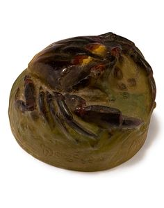 Amalric Walter, Nancy. 'Crabe' paperweight, c1925. H. 4.5 cm, 7.6 x 7 cm. Designed by Henri Bergé. Pâte de verre, translucid batch, moulded, green, reliefed crab among algae, yellow and dark brown fusions, part polished. Signed: AWALTER NANCY, H Bergé sc.