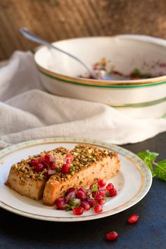Pistachio and Black Pepper Crusted Cider Tofu with a Pomegranate-Mint Relish (vegan & glutenfree) | chel rabbit