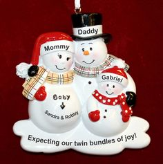 Personalized Expecting Twins Christmas Ornament Bundle of Joy | RussellRhodes.com Baby Ornaments, Personalized Christmas Ornaments, Packaging Services, Expecting Twins, Sticker Removal, Perfect Christmas Gifts, Easy Gifts, Gift Packaging, Joy