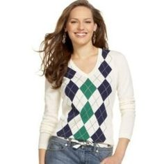 sweaters   Argyle Sweaters Tommy Hilfiger Argyle V Neck Sweater Womens Apparel ...