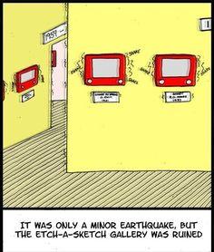 Etch-a-sketch in an earthquake