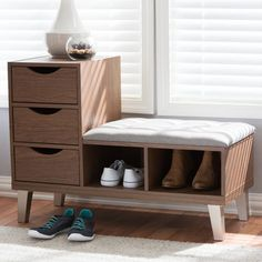 Baxton Studio Arielle Modern & Contemporary Walnut Wood Shoe Storage Grey Fabric Upholstered Seating Bench w/ Two Open Shelves - and architectural, the Arielle shoe storage padded fabric upholstered seating bench Shoe Storage Grey, Shoe Storage Cabinet, Bench With Shoe Storage, Storage Drawers, Space Furniture, Furniture For Small Spaces, Find Furniture, Shoe Storage Ideas For Small Spaces, Furniture Stores