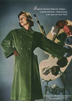 A lovely string bean green hued hollow-cut velveteen green coat from 1947. 40s 50s green coat photo color print ad model magazine promo