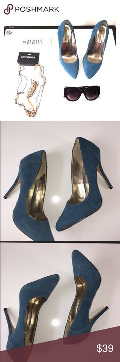 Blue suede leather upper Steve Madden 6 Blue suede leather upper Steve Madden heels in good condition, light spot on the left front of shoe from cleaning as seen in the picture still a lovely shoe to have on your shoe closet. Feel free to make an offer. Steve Madden Shoes Heels