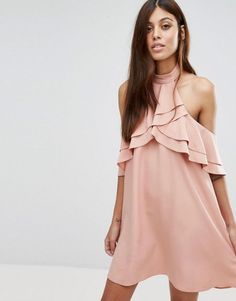 91c6ec5cf6 New Look High Neck Ruffle Mini Dress