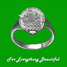 Clan Badge No Motto Small Clan Crest 14K White Gold Ladies Ring